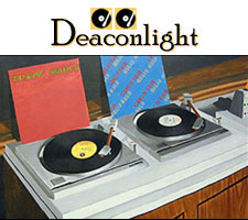 Painting of vintage turntables from Deaconlight radio show
